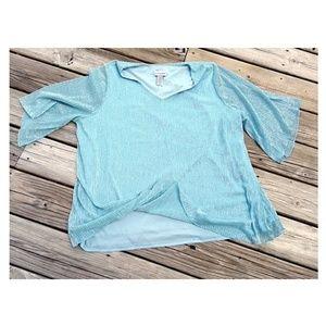 Aqua Blue Shimmer Dressy Blouse Plus 2X 22W - 24W